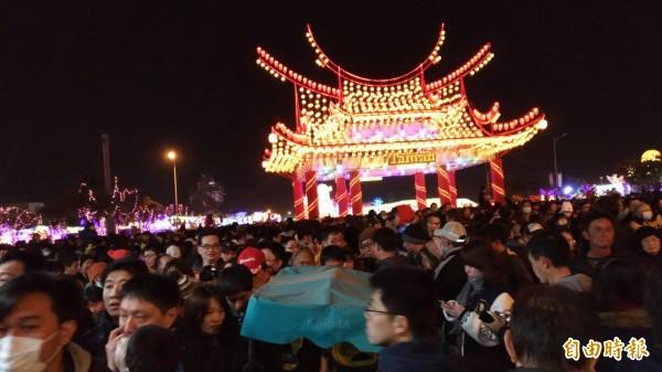台灣燈會湧進150萬人次全場擠爆。(記者廖淑玲攝)