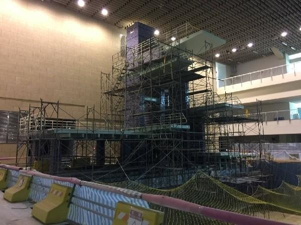 台北市立大學天母校區詩欣館將作為世大運的跳水比賽場地,目前正進行整建工程。(圖由台北市工務局提供)