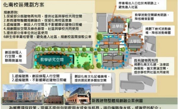 政大日前公布興建計畫,將興建2棟法學院建築、1棟教學研究空間,30棟宿舍僅保留8棟。(民眾提供,擷取自政大宣傳單)