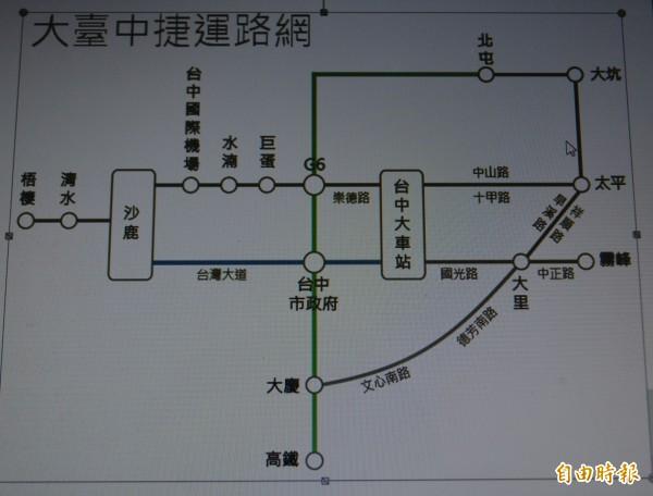 市府推動捷運「大平霧」線,交通局規劃初步的捷運路網。(記者陳建志攝)