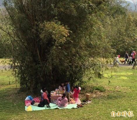竹東河濱生態公園可以賞櫻也可以野餐。(記者黃美珠攝)