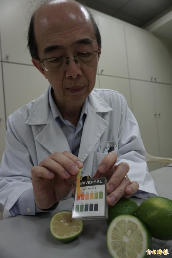 醫師葉宏仁測試檸檬PH值為3,酸度比胃酸約2還低。(記者蔡淑媛攝)