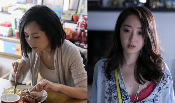 楊千嬅(左)和蔣夢婕的胸口都有一顆痣。(合成照,取自《春嬌救志明》臉書)