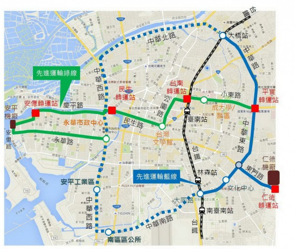 南市先進系統綠線及藍線路網。(記者蔡文居翻攝)