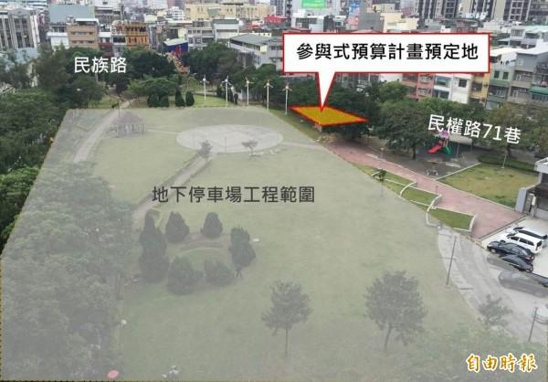 文昌公園推動參與式預算,圖中標示參與式預算既畫預定空間,開放民眾投票。(交通局提供)