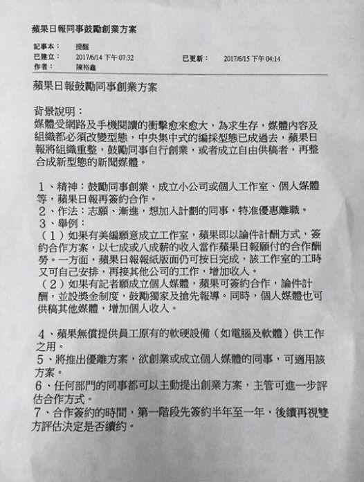 臉書上近來瘋傳一份《蘋果日報》社長陳裕鑫署名的內部文件,鼓勵員工「離職創業」,同意者可領優離資遣費,成立個人工作室之後再回頭和《蘋果》簽約。(翻攝管中祥臉書)