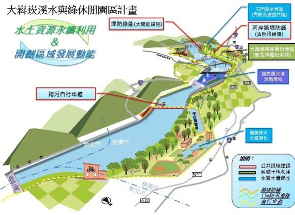 桃園市政府提出「大嵙崁溪水與綠休閒園區計畫」的願景圖。(記者李容萍翻攝)