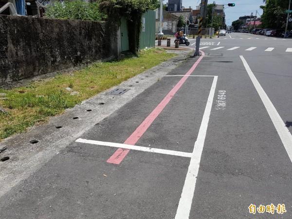 停車格劃在紅線上,能不能停車民眾搞不清。(記者葉永騫攝)