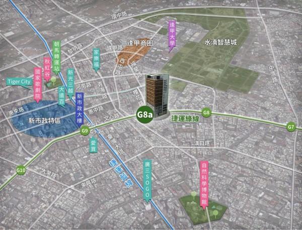 捷運綠線G8a站坐擁台中精華地帶,未來將成逢甲商圈新門戶。(台中市政府提供)