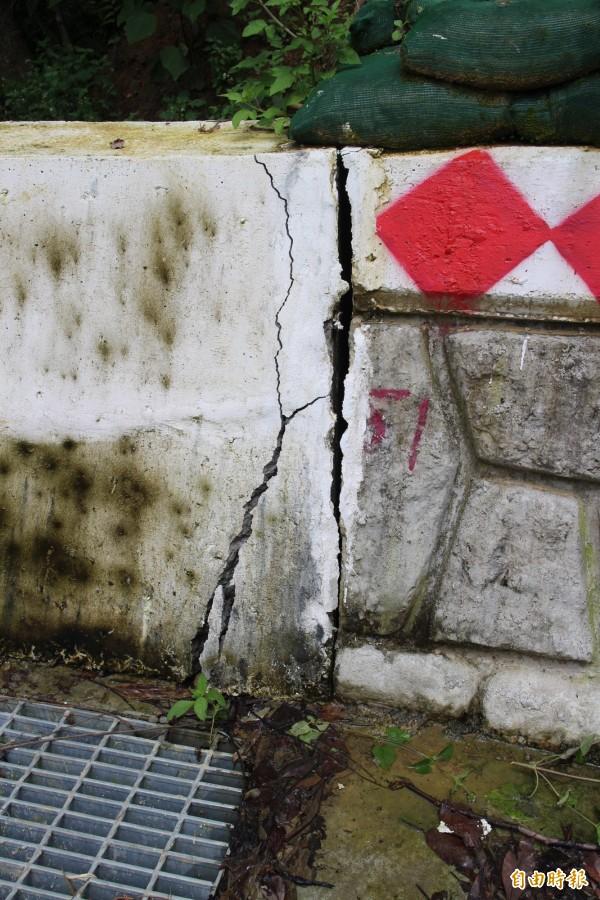 新竹縣關西鎮金山里15鄰農路轉彎處上方護坡,完工驗收後因地層下陷而龜裂。(記者黃美珠攝)