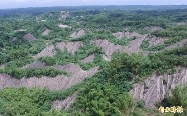 龍崎美麗的白堊泥岩惡地形,要蓋事業廢棄物掩埋場,引起地方強烈反彈。(記者蔡文居攝)