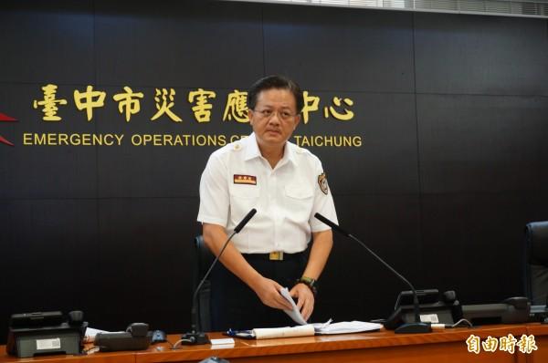 消防局長蕭煥章召開記者回說明爆炸案。(記者何宗翰攝)