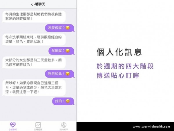 小暖App,透過小暖聊天機器人,提供使用者經期期間注意事項。(小暖健康提供)