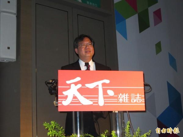 桃園市長鄭文燦就智慧城市進行演講。(記者謝武雄攝)