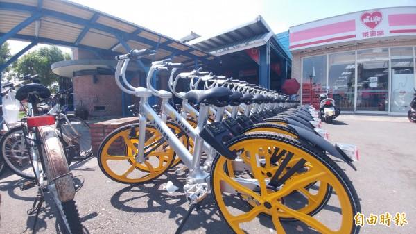 共享自行車戰國時代,V-bikes現身宜蘭。(記者簡惠茹攝)