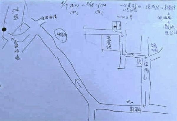 彰化市台鳳里長劉寶存手繪的送肉粽時間及路線圖,由網友PO臉書呼籲民眾注意。(翻攝自臉書台鳳社區大小事)