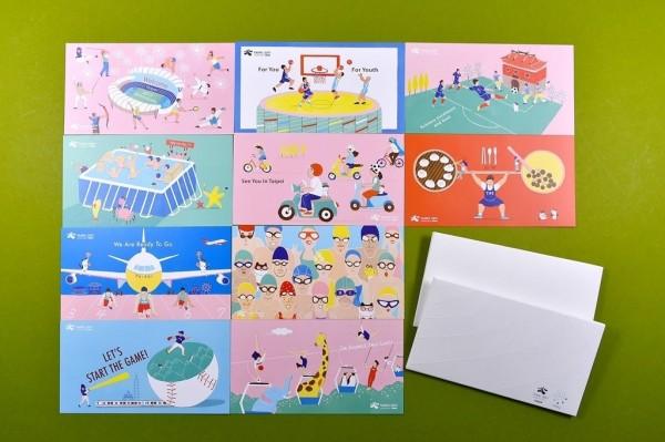 世大運紀念明信片10款,以手繪插畫風展現台北魅力。(台北市觀光傳播局提供)