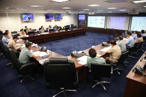因應天鴿颱風來襲,國防部已完成國軍災害應變中心二級開設。(圖:國防部提供)。