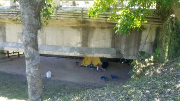 胡姓毒蟲與洪姓女友在橋底下搭帳棚吸毒。(記者林嘉東翻攝)