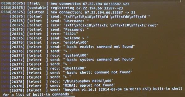 HITCON上講者展示了Mirai病毒的對話內容(記者譚偉晟攝)
