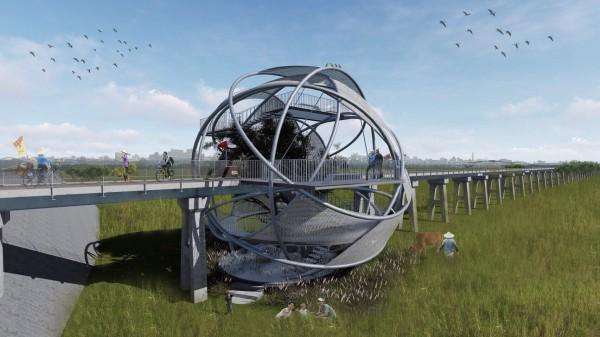建築師廖偉立構想結合橋下景觀打造的球體狀觀景平台十分美麗。(圖由建築師廖偉立提供)