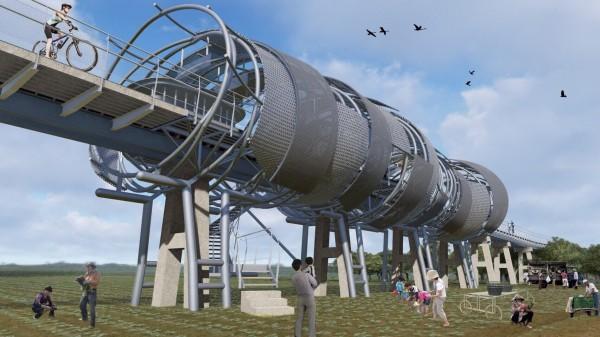 建築師廖偉立設計的復興鐵橋臨時車站。(圖由建築師廖偉立提供)