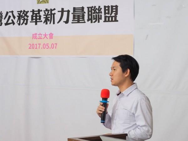 今5五月,林于凱於公務革新力量聯盟成立大會建言。(林于凱提供)(記者黃旭磊攝)