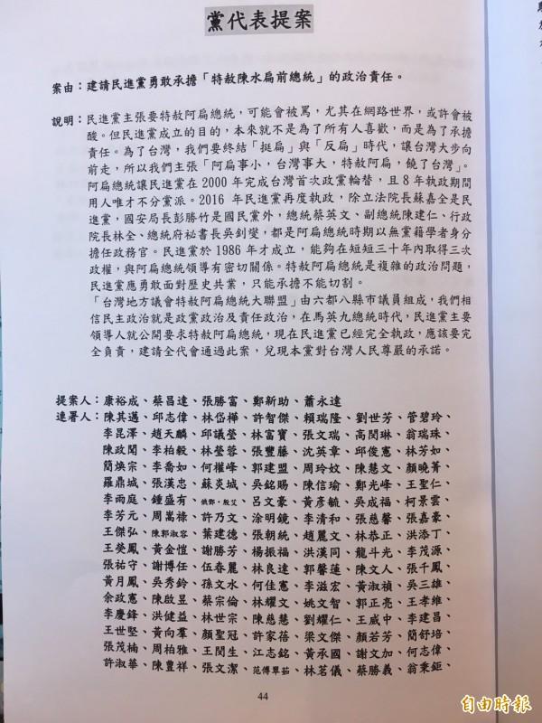 民進黨高雄市議員蕭永達等人提案「建請民進黨勇敢承擔『特赦陳水扁前總統』的政治責任」,共計506名黨代表連署。(記者楊淳卉攝)