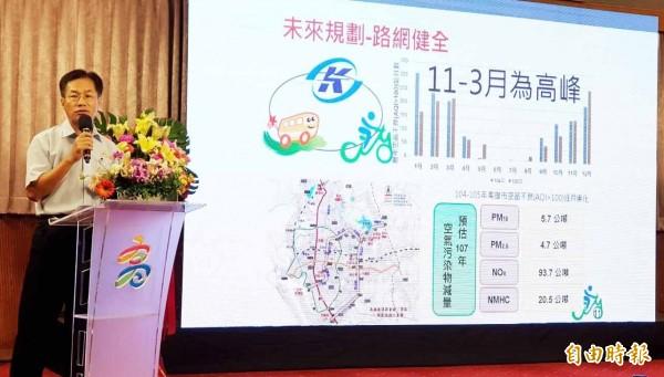 環保局長蔡孟裕宣布CityBike達300站目標。(記者陳文嬋攝)