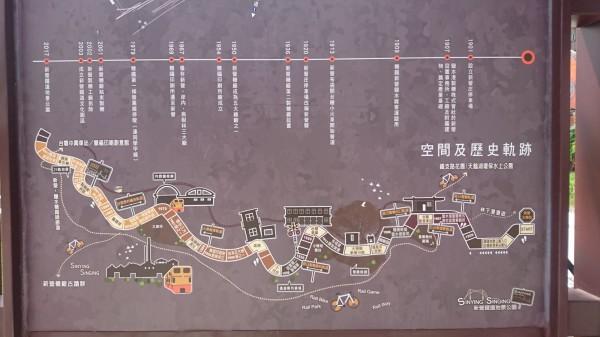 新營鐵道地景公園布置圖、新營鹽水線行駛歷史表。(記者楊金城翻攝)