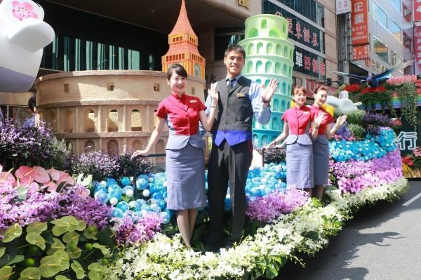 雙十國慶花車將於(10)日假台北市總統府前盛大登場,華航今年首次參與國慶花車盛會,也是唯一的航空公司代表。(華航提供)