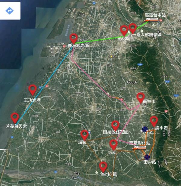 從google地圖看各公車線串連各觀光點。(記者顏宏駿翻攝)