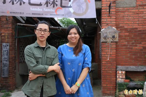 國內的年輕藝術家彭一航(左)、唐瑄(右)在蘆竹湳社區駐點1個月,打造融入地方特色的創作。(記者鄭名翔攝)