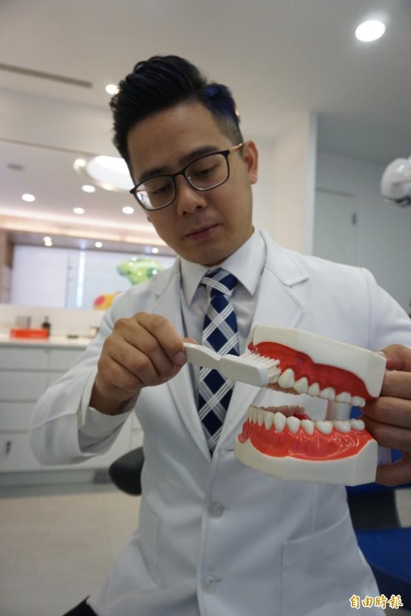 牙醫師劉得廷提醒,正確刷牙是 以45度角來回2、3顆牙好好刷。(記者蔡淑媛攝)