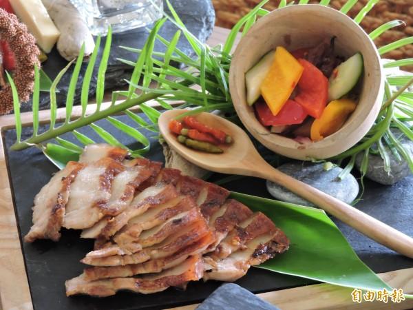 山豬肉搭配酸甜蔬菜,不油不膩。(記者張存薇攝)