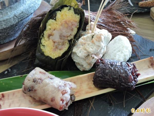 豬肉阿粺或樹豆、紫米竹筒飯等各有不同風味,客人可依喜好選擇。(記者張存薇攝)