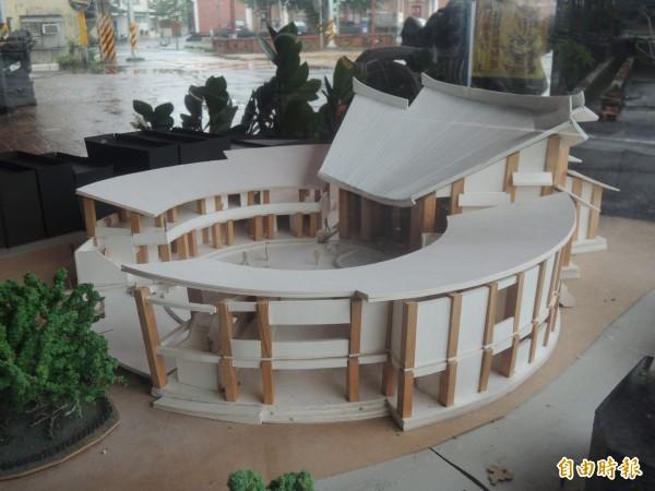 二結王公廟新廟採圓形基調設計,有別於傳統飛簷造型,號稱台灣獨一無二,圖為設計模型。(記者江志雄攝)