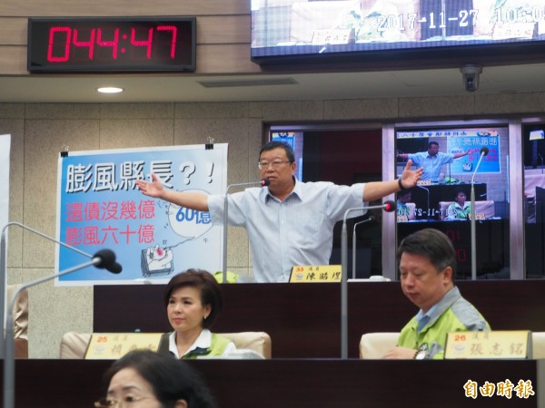 綠營議員陳昭煜兩手張開,問縣警局長「我哪裡像黑道?」。(記者陳鳳麗攝)