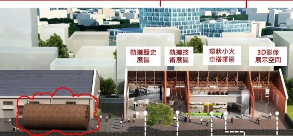 桃園軌道願景館動工,圖為完工後的示意圖,紅色圈圈為實體潛盾機。(交通局提供)