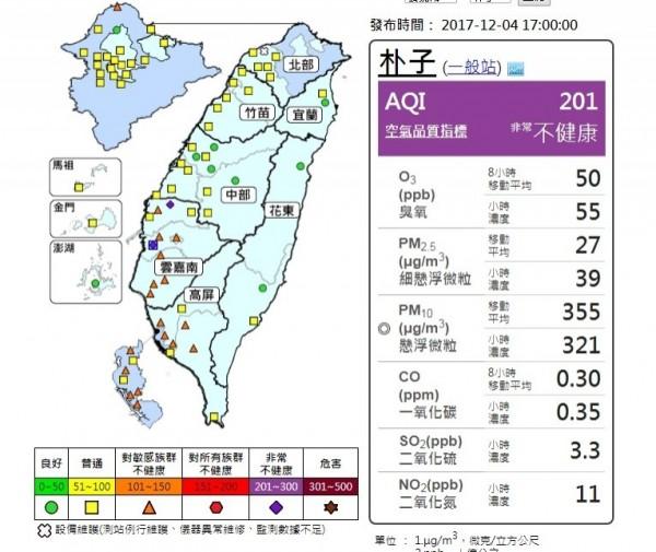 雲嘉出現河川揚塵,AQI達到紫色提醒。(取自環保署空氣品質監測網)