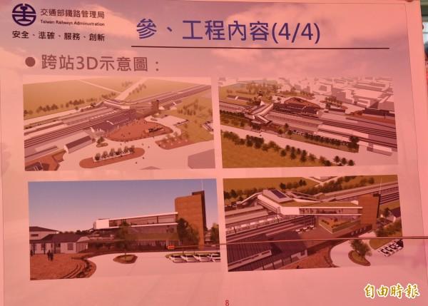 斗南車站跨站式工程3D示意圖。(記者黃淑莉攝)