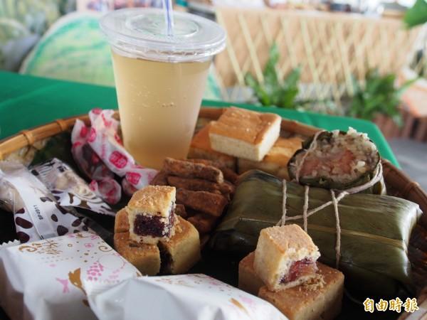 太麻里地區農會今天推出以紅藜為主題的各式餐點。(記者王秀亭攝)