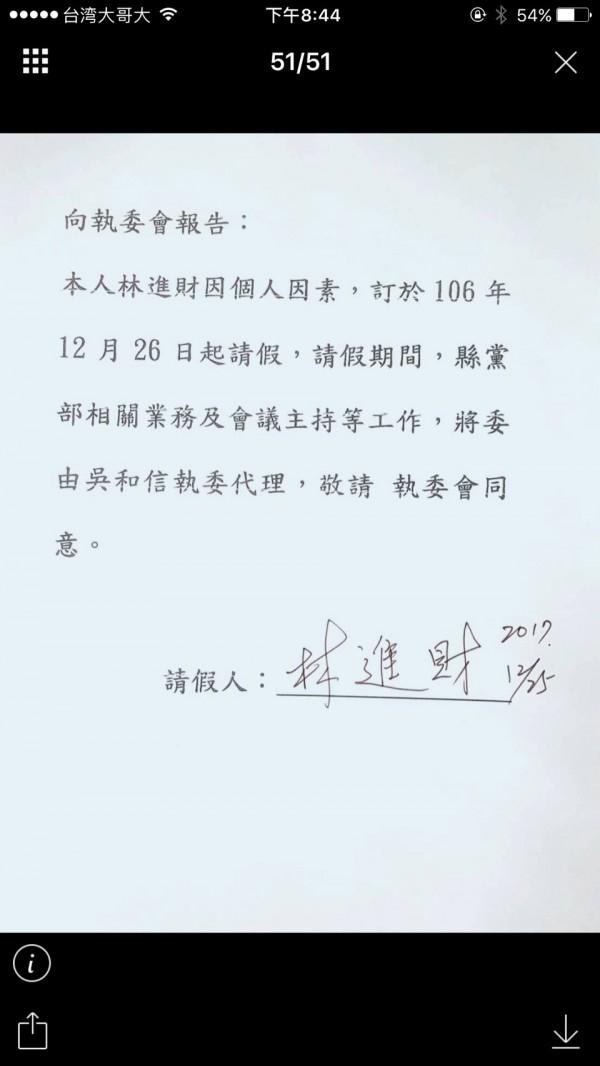 林進財的請假單,指定由吳和信執委代理。(記者游明金翻攝)