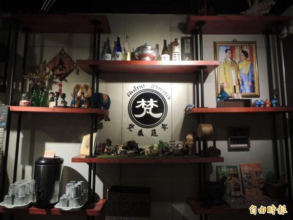 「梵泰蔬食」店內裝飾充滿泰國風格。(記者廖雪茹攝)