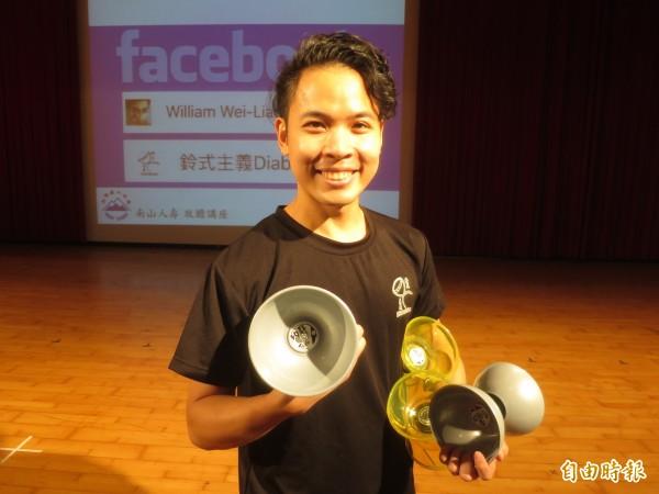 世界雜耍冠軍、台灣扯鈴好手林韋良。(記者劉濱銓攝)
