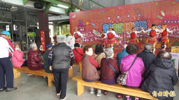 假日到關山賞花海,還能看到在地團體的精采表演。(記者王秀亭攝)