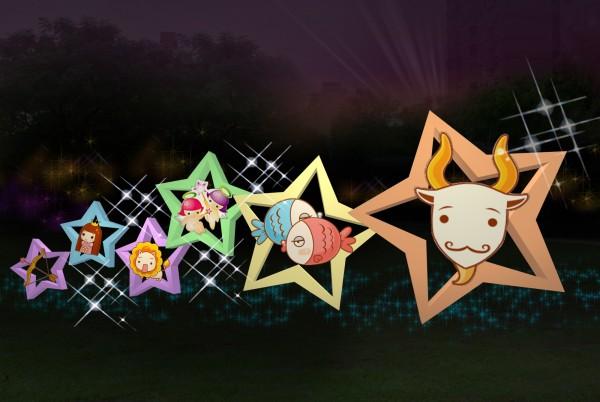龜山燈區的「星旺迎春」主題燈模擬圖,以12星座為元素。(桃園市政府提供)