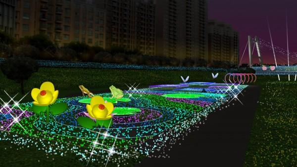 蘆竹燈區的「千塘之鄉樂悠遊」主題燈,以埤塘為元素。(桃園市政府提供)