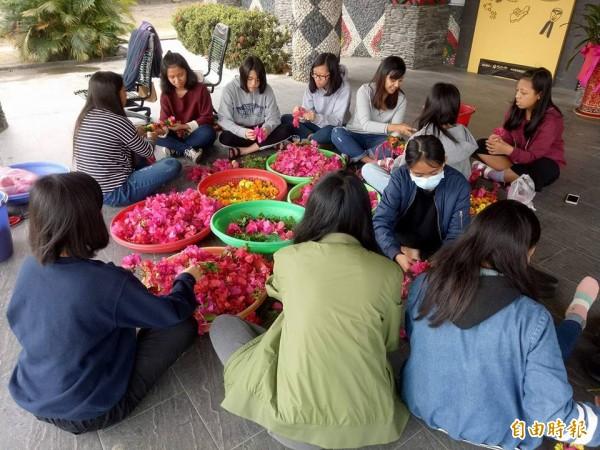 不讓傳統流失,卡大地布部落少女群聚學習編花環。(記者陳賢義攝)