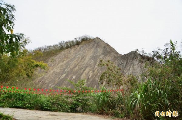 歐欣稱,為了水保工程,擬挖除原有的泥岩山丘,遭質疑變相開發。(記者吳俊鋒攝)